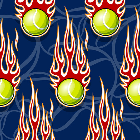 Seamless pattern with tennis ball symbol and hot rod flame. Vector illustration. Ideal for wallpaper packaging fabric textile wrapping paper design and any decoration.