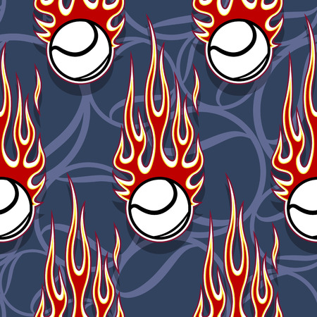Seamless printable pattern with tennis balls and hot rod flames. Vector illustration. Ideal for wallpaper packaging fabric textile paper print design and any decoration.