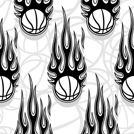 Seamless pattern with basketball ball and hot rod flame. Vector illustration. Ideal for wallpaper, cover, packaging, fabric, textile, wrapping paper design and any kind of decoration. Stok Fotoğraf - 112263816