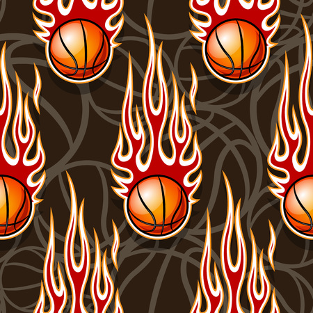 Seamless pattern with basketball balls and hotrod flames. Vector illustration. Ideal for wallpaper, cover, packaging, fabric, textile, wrapping paper design and any kind of decoration. Stok Fotoğraf - 112263832
