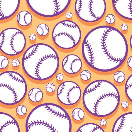 Patrón sin fisuras con gráficos de pelota de béisbol softbol. Ilustración vectorial. Ideal para papel pintado, packaging, tela, textil, diseño de papel de regalo y cualquier tipo de decoración. Foto de archivo - 108058629