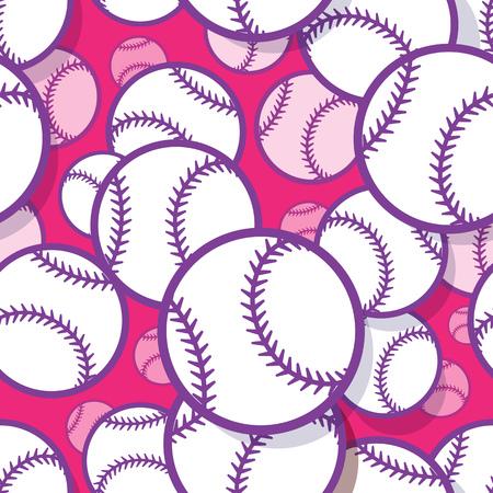Patrón sin fisuras con gráficos de pelota de béisbol softbol. Ilustración vectorial. Ideal para papel pintado, packaging, tela, textil, diseño de papel de regalo y cualquier tipo de decoración.