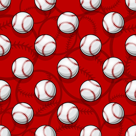 Seamless pattern with baseball softball ball graphics. Vector illustration. Ideal for wallpaper, packaging, fabric, textile, wrapping paper design and any kind of decoration.