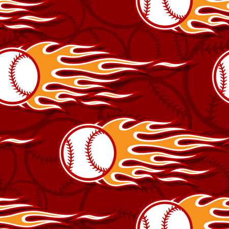 Seamless printable pattern with baseball softball balls and hot rod flames. Vector illustration. Ideal for wallpaper packaging fabric textile paper print design and any decoration.
