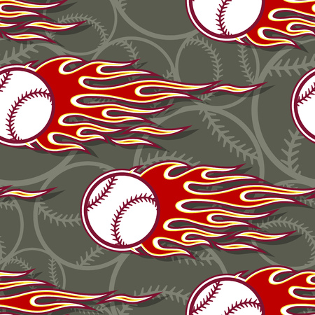 Baseball softball ball seamless pattern with hotrod flame. Printable vector illustration. Ideal for wallpaper packaging fabric textile wrapping paper design and any decoration.