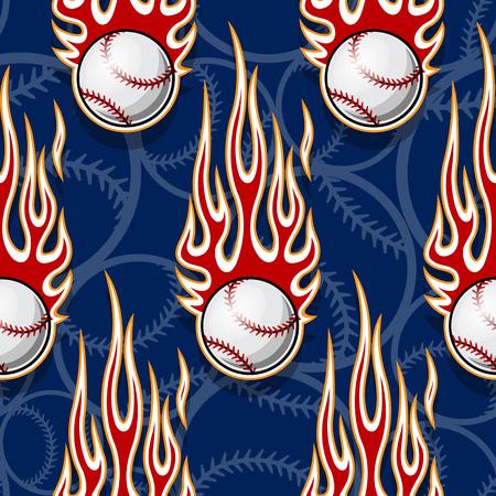Bolas de softbol de béisbol imprimibles de patrones sin fisuras con llamas de hotrod. Ilustración de vector. Ideal para empaques de papel tapiz, tela, diseño de papel de envolver textil y cualquier decoración.