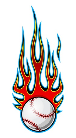 Baseball softball ball vector illustration with hot rod flames. Ideal for printable sticker decal sport logo design and any decoration.