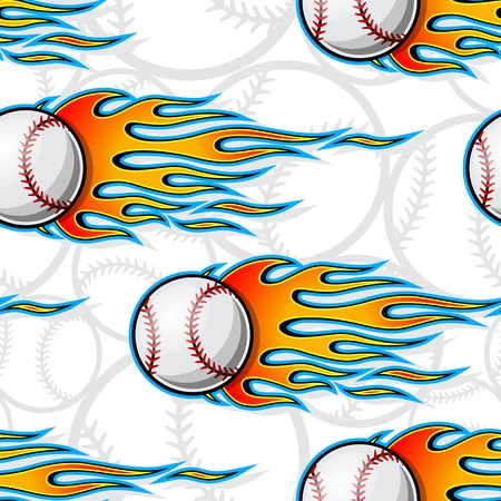 Baseball softball balls printable seamless pattern with hotrod flames. Vector illustration. Ideal for wallpaper packaging fabric textile wrapping paper design and any decoration. Ilustração