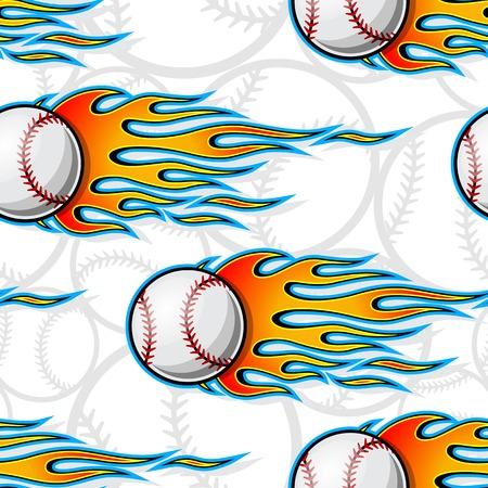 Modello senza cuciture stampabile di palle di softball da baseball con fiamme hotrod. Illustrazione vettoriale. Ideale per l'imballaggio di carta da parati, il design di carta da imballaggio in tessuto e qualsiasi decorazione.