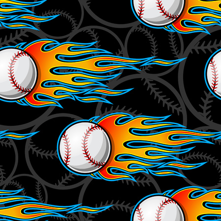 Seamless pattern with baseball softball ball symbol and hot rod flame. Vector illustration. Ideal for wallpaper packaging fabric textile wrapping paper design and any decoration.