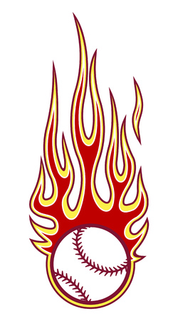 Vector illustration of baseball softball ball with hotrod flame shape. Ideal for printable sticker decal sport logo design and any decoration.
