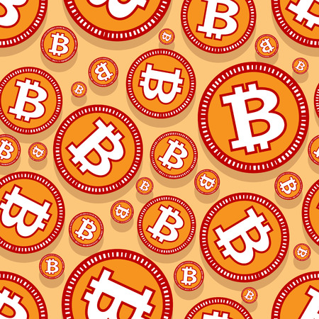Printable seamless pattern of digital bitcoin crypto currency symbol. Vector illustration. Ideal for wallpaper, wrapping, packaging, any print and textile design. Illustration