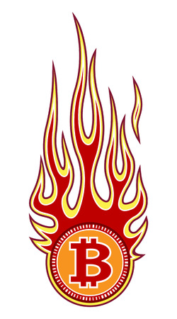 Vector illustration of digital bitcoin crypto currency sign with hotrod flame. Ideal for sticker decal logo design template and any kind of decoration.