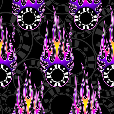 Printable seamless pattern with casino poker chips symbols and hotrod flame. Digital vector illustration. Ideal for wallpaper packaging fabric textile wrapping paper design.