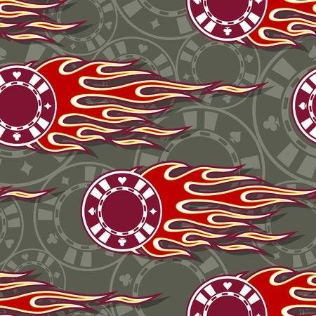 Seamless pattern with casino poker chips symbols and hot rod flame. Digital vector illustration. Ideal for wallpaper packaging fabric textile wrapping paper design.