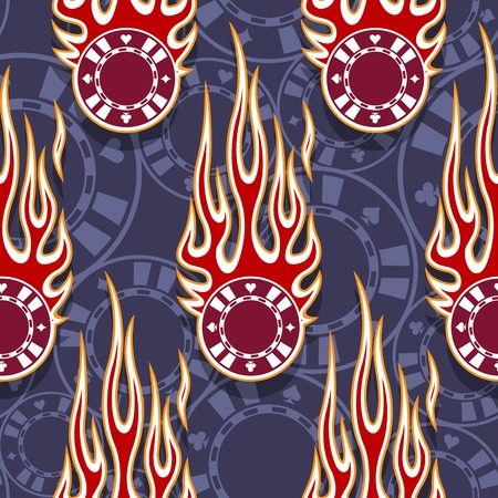Seamless printable pattern with casino poker chips symbols and hot rod flames. Digital vector illustration. Ideal for wallpaper packaging fabric textile paper print design.