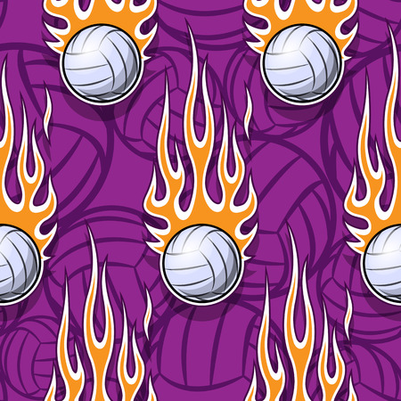 Volleyball balls printable seamless pattern with hotrod flames. Vector illustration. Ideal for wallpaper, packaging, fabric, textile, wrapping paper design and any decoration. Ilustrace