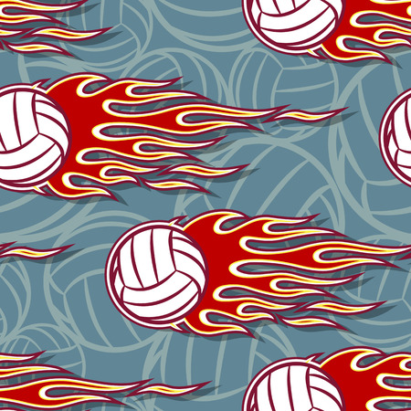 Seamless printable pattern with volleyball balls and hot rod flames. Vector illustration. Ideal for wallpaper, packaging, fabric, textile, paper print design and any decoration.