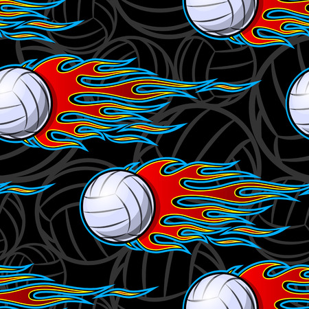 Printable seamless pattern with volleyball ball and hotrod flame. Vector illustration. Ideal for wallpaper, packaging, fabric, textile, wrapping paper design and any decoration. 向量圖像