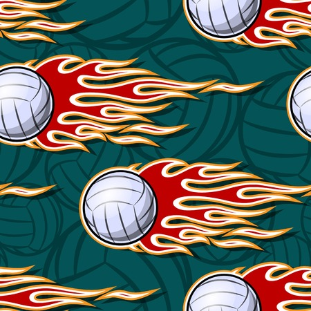 Volleyball ball seamless pattern with hot rod flame. Printable vector illustration. Ideal for wallpaper, packaging, fabric, textile, wrapping paper design and any decoration.