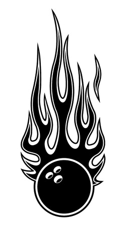 Bowling ball vector illustration with hot rod flames. Ideal for printable sticker decal sport logo design and any decoration.  イラスト・ベクター素材