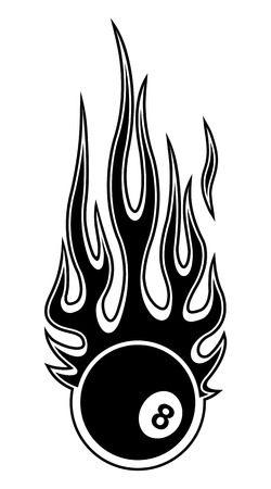 Vector illustration of billiards pool snooker 8 ball with hot rod flames. Ideal for sticker car and motorcycle decal sport logo design template and any kind of decoration.