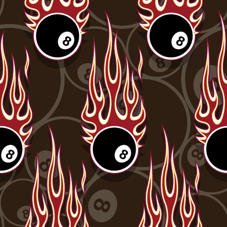 Billiards pool snooker 8 ball symbols seamless pattern with hotrod flame. Printable vector illustration. Ideal for wallpaper packaging fabric textile wrapping paper design.