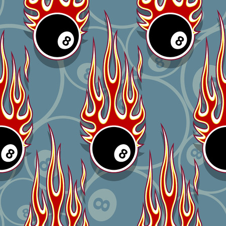 Billiards pool snooker 8 ball symbols printable seamless pattern with hotrod flames. Vector illustration. Ideal for wallpaper packaging fabric textile wrapping paper design.