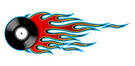 炎とヴィンテージレトロビニールレコードアイコンの印刷可能なベクトルイラスト。ステッカーカーとオートバイのデカールロゴデザインテンプレートや装飾の任意の種類のための理想的な。