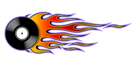 Illustration vectorielle imprimable de l'icône de disque vinyle rétro vintage avec flamme. Idéal pour le modèle de conception de logo autocollant voiture et moto et tout type de décoration. Logo