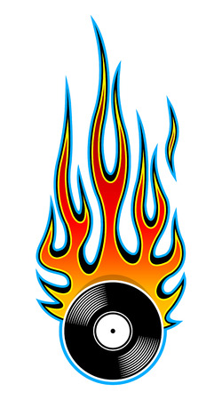 Printable vector illustration of vintage retro vinyl record icon with flame. Ideal for sticker car and motorcycle decal logo design template and any kind of decoration.