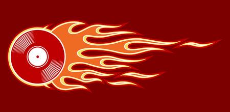 Illustration vectorielle imprimable de l'icône de disque vinyle rétro vintage avec flamme. Idéal pour le modèle de conception de logo autocollant voiture et moto et tout type de décoration.