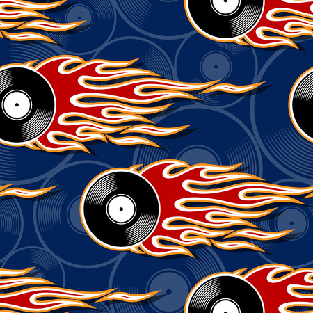Printable seamless pattern with retro vintage vinyl record icon and hotrod flame. Digital vector illustration. Ideal for wallpaper packaging fabric textile wrapping paper design.