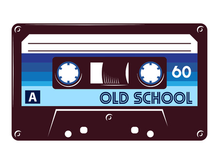 Retro vintage cassette tape vector illustration on isolated white background.