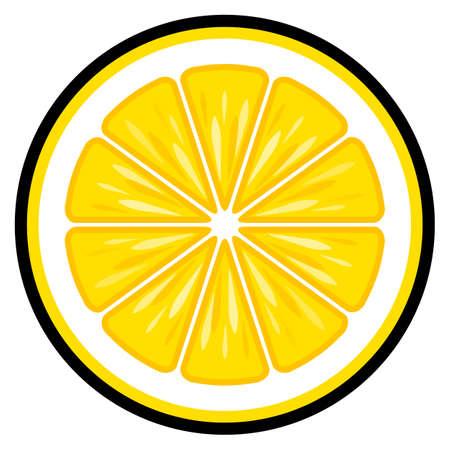 Lemon fruit slice vector art graphic isolated on white background.