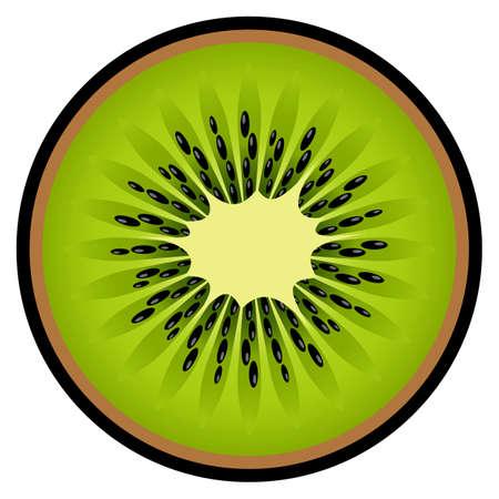 Kiwi fruit slice vector art graphic isolated on white background.