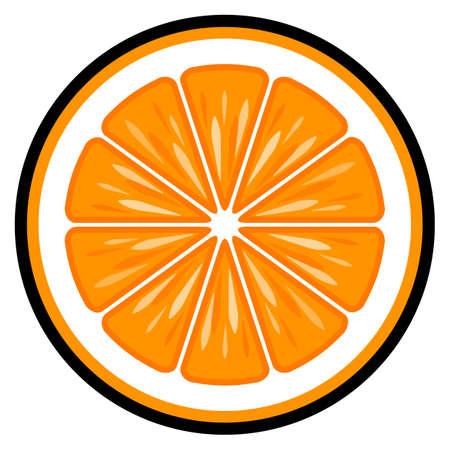 Orange fruit slice vector art graphic isolated on white background. Иллюстрация