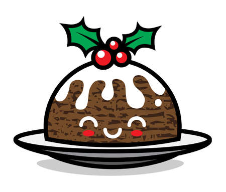 Cute Christmas pudding character vector illustration. Can be used for festive design, brochure, flyer, packaging, wrapping and any kind of decoration.