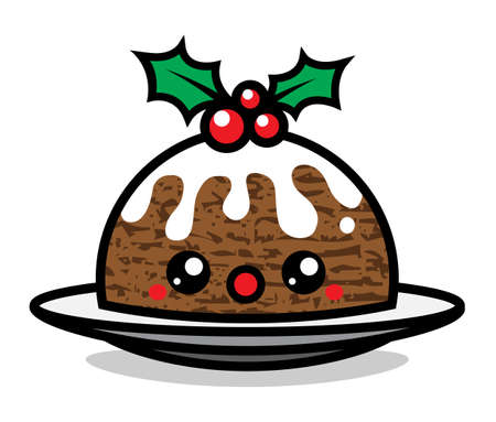 Cute Christmas pudding character vector graphic. Can be used for festive design, brochure, flyer, packaging, wrapping and any kind of decoration. Иллюстрация