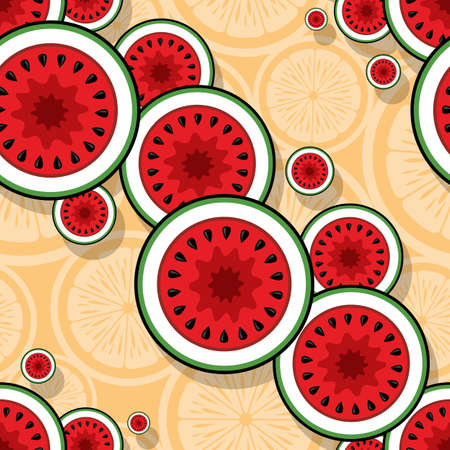 Seamless pattern with watermelon slice graphics. Vector art illustration. Ideal for wallpaper, packaging, fabric, textile, wrapping paper design and any kind of decoration and craft. Иллюстрация