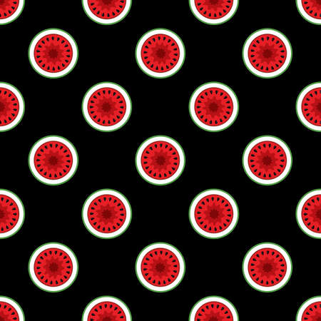 Watermelon slices seamless pattern vector art graphic. Ideal for wallpaper, packaging, fabric, textile, wrapping paper design and any kind of decoration and craft.