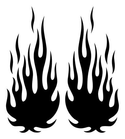 Tribal flames silhouette vector art isolated on white background. Can be used for hotrod and muscle car painting and decoration.