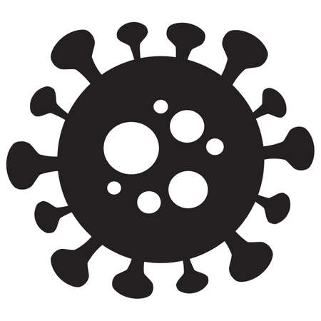 silhouette vector symbol. Flat  virus graphic isolated on white background. Иллюстрация