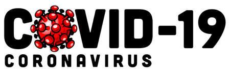 Covid-19 coronavirus vector logo sign with flat red corona virus icon isolated on white background