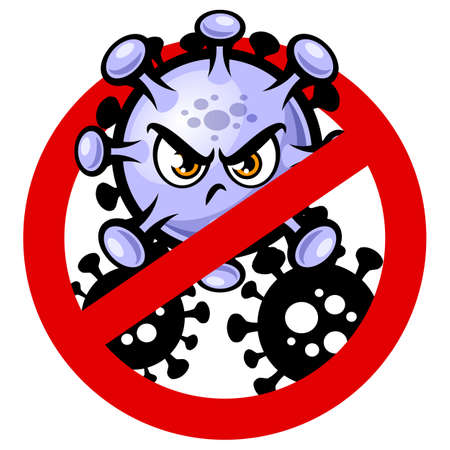 Stop Covid-19 sign and symbol with angry virus cartoon mascot vector illustration isolated on white background. Иллюстрация
