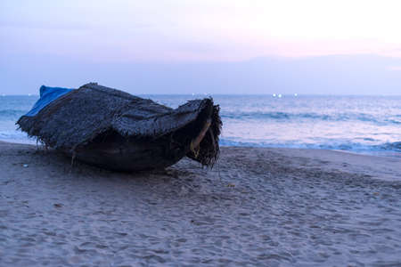varkala: Fishing boat on the Indian ocean, Varkala, India Stock Photo