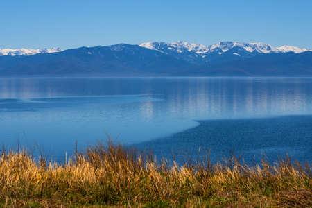 beautiful panorama of lake Baikal with mountain views