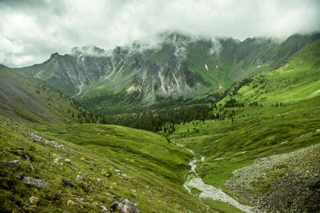 Summer mountain landscape in the Baikal mountains