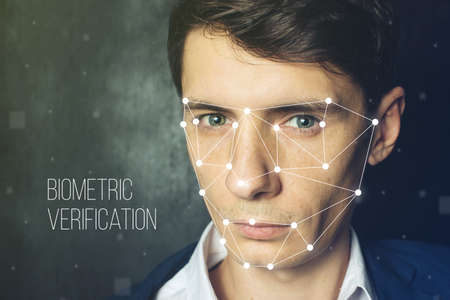 Biometric verification. Face recognition on polygonal grid is constructed by the points Stok Fotoğraf
