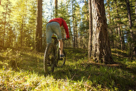 mountin: mountin biker with bike in the forest. Successful happy rider on rocks holding bicycle. Sport, adventure, motivation and inspiration. Stock Photo